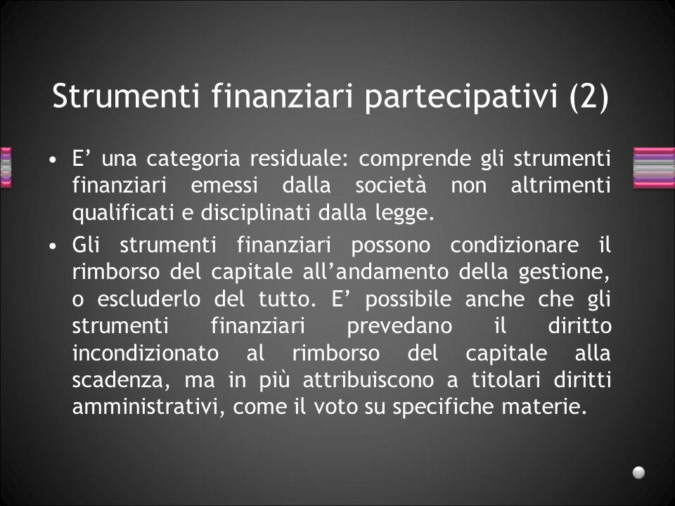 Strumenti finanziari partecipativi (2)