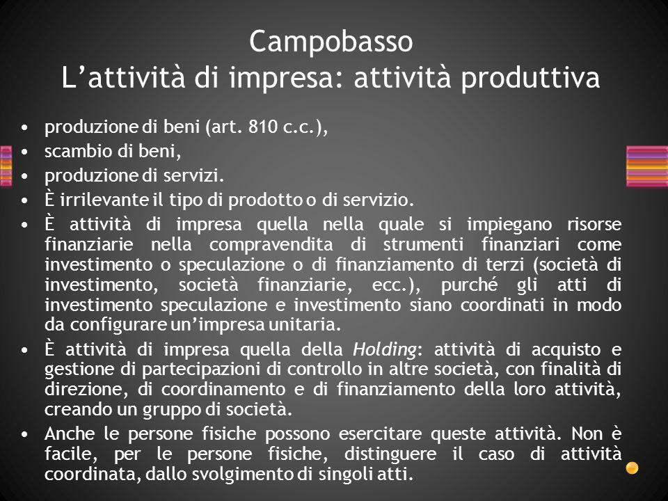 Campobasso L'attività di impresa: attività produttiva