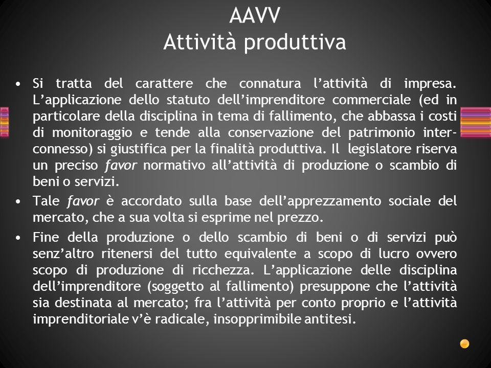 AAVV Attività produttiva