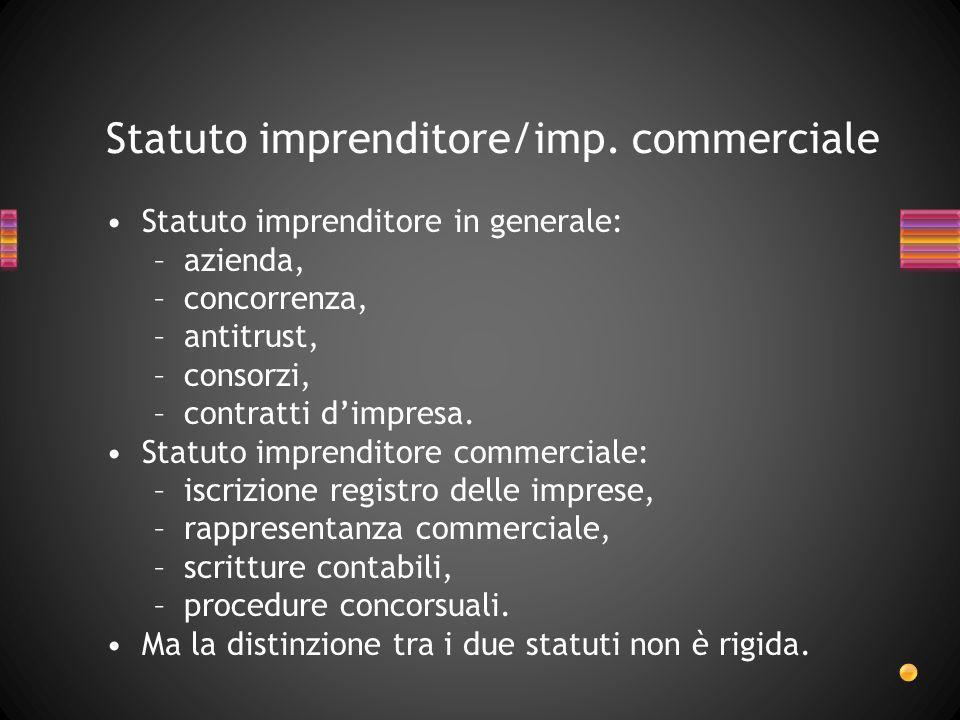 Statuto imprenditore/imp. commerciale