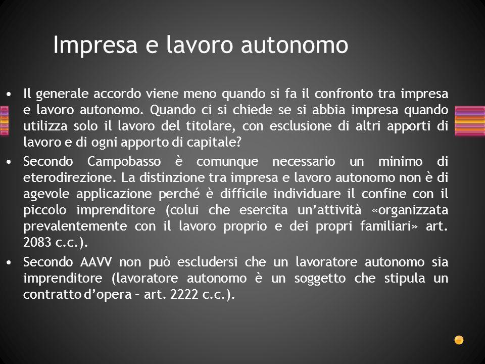 Impresa e lavoro autonomo