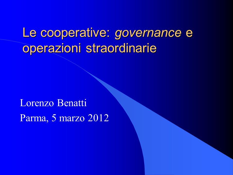 Le cooperative: governance e operazioni straordinarie