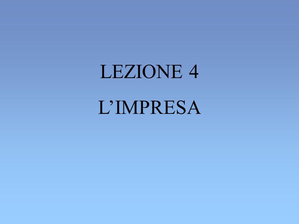 LEZIONE 4 L'IMPRESA