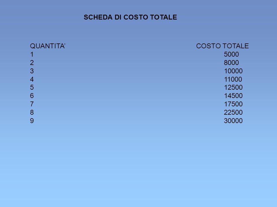 SCHEDA DI COSTO TOTALE QUANTITA' COSTO TOTALE. 1 5000. 2 8000. 3 10000. 4 11000.