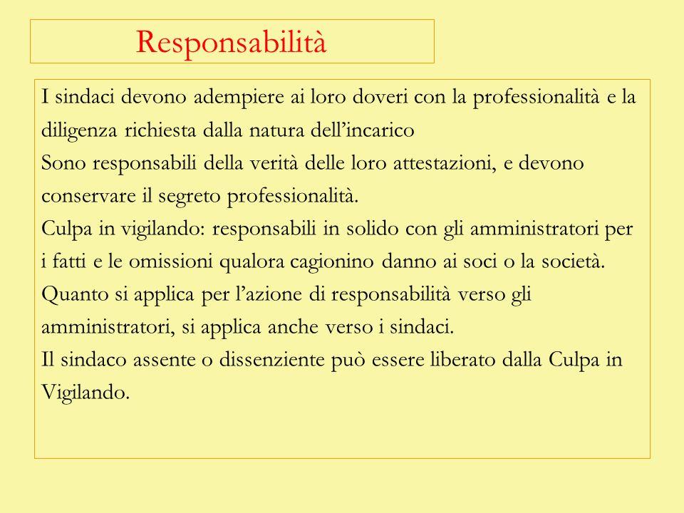 Responsabilità I sindaci devono adempiere ai loro doveri con la professionalità e la. diligenza richiesta dalla natura dell'incarico.