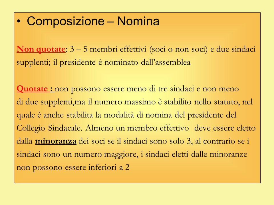 Composizione – Nomina Non quotate: 3 – 5 membri effettivi (soci o non soci) e due sindaci. supplenti; il presidente è nominato dall'assemblea.