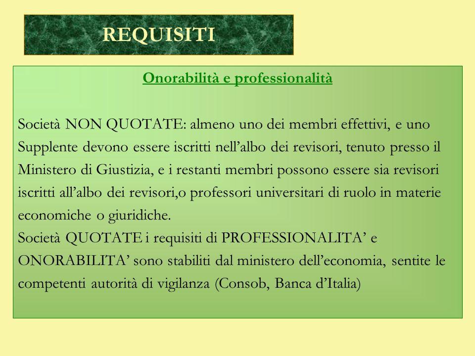 Onorabilità e professionalità