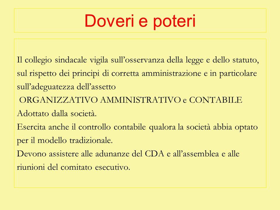 Doveri e poteri Il collegio sindacale vigila sull'osservanza della legge e dello statuto,