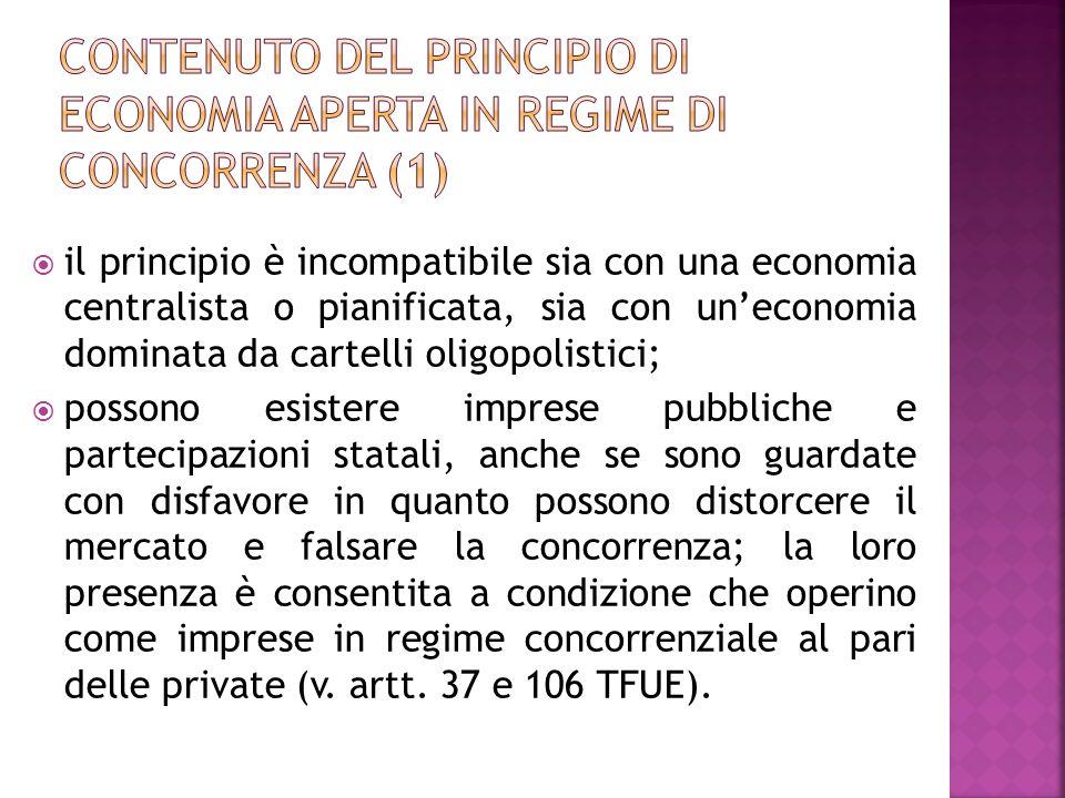 Contenuto del principio di economia aperta in regime di concorrenza (1)