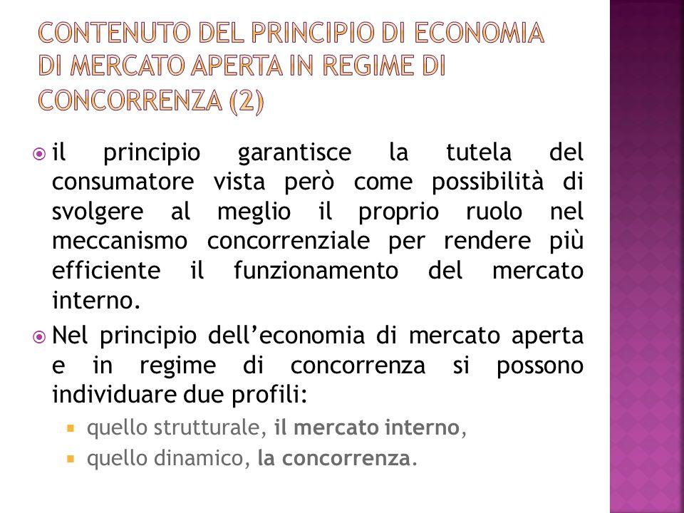 Contenuto del principio di economia di mercato aperta in regime di concorrenza (2)