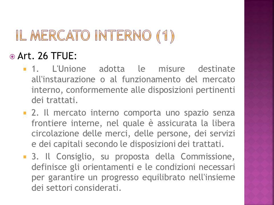 Il mercato interno (1) Art. 26 TFUE:
