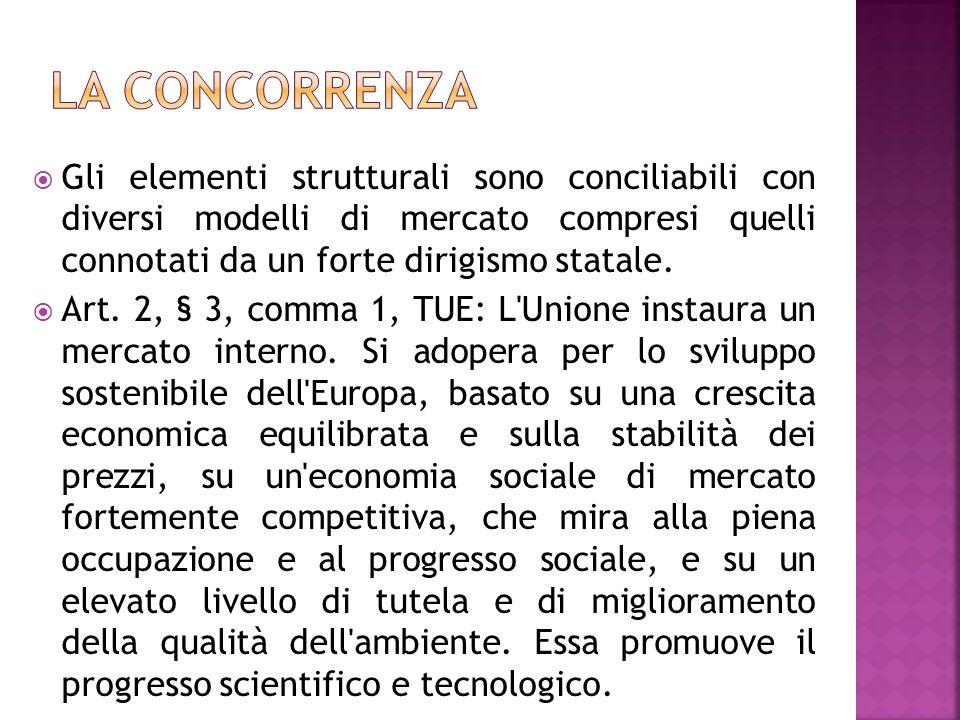 La concorrenza Gli elementi strutturali sono conciliabili con diversi modelli di mercato compresi quelli connotati da un forte dirigismo statale.
