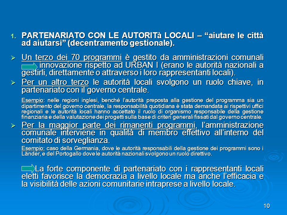 PARTENARIATO CON LE AUTORITà LOCALI – aiutare le città ad aiutarsi (decentramento gestionale).