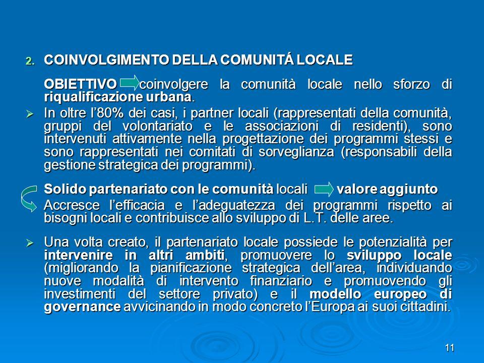 COINVOLGIMENTO DELLA COMUNITÁ LOCALE