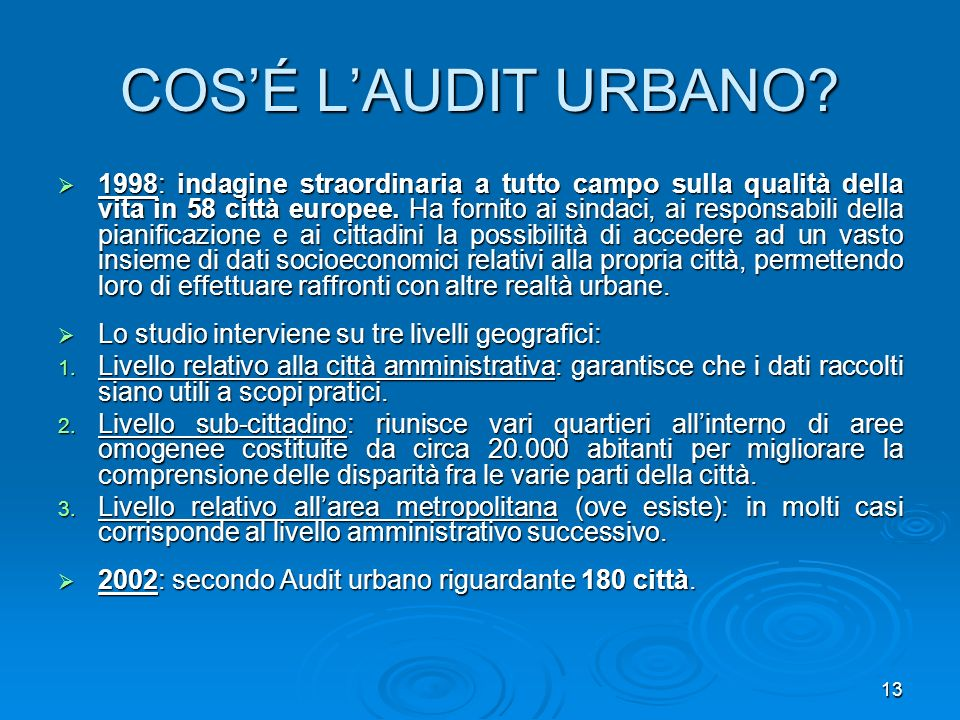 COS'É L'AUDIT URBANO