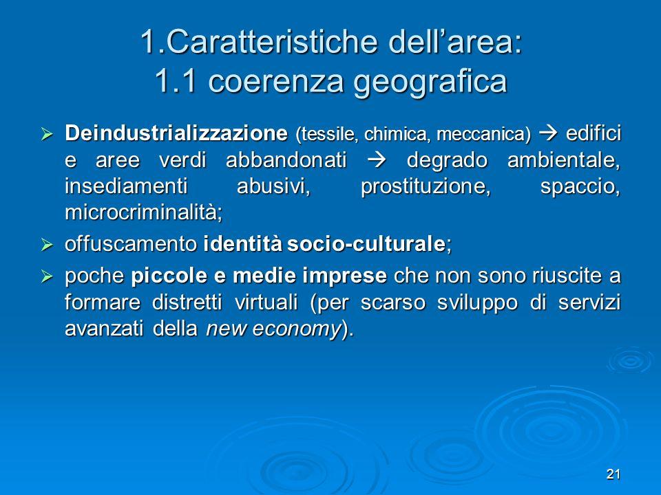 1.Caratteristiche dell'area: 1.1 coerenza geografica