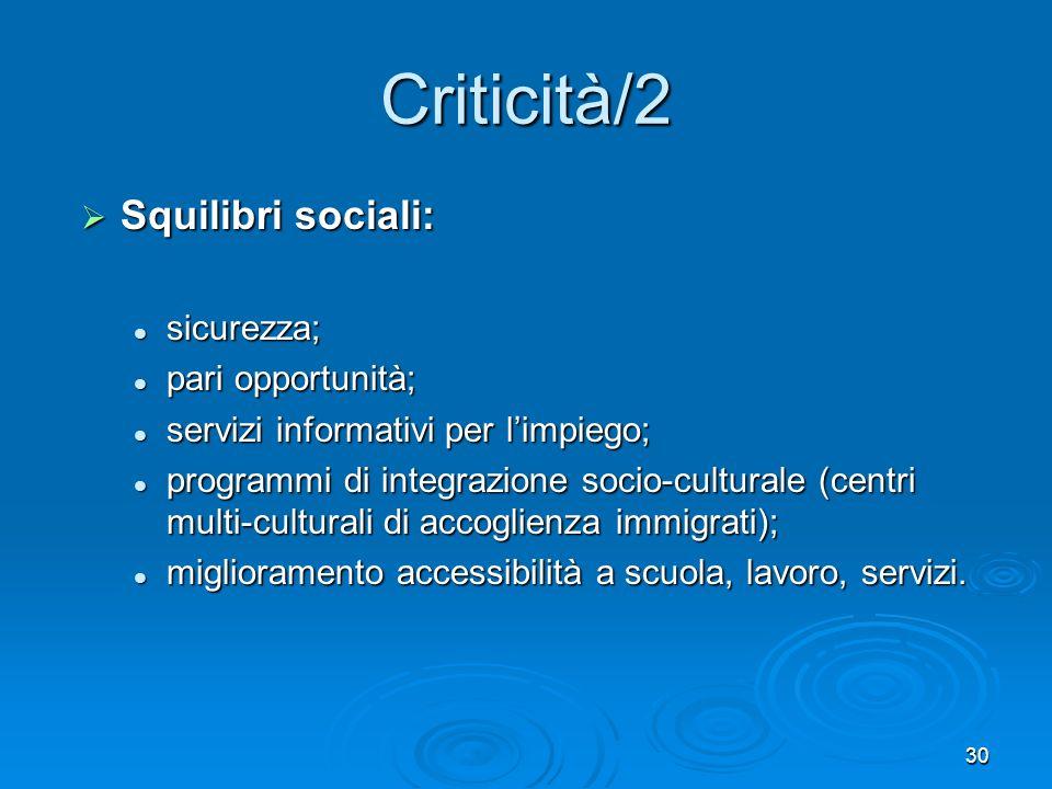 Criticità/2 Squilibri sociali: sicurezza; pari opportunità;