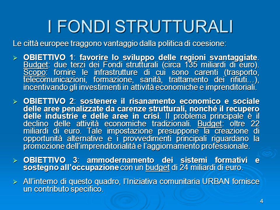 I FONDI STRUTTURALI Le città europee traggono vantaggio dalla politica di coesione: