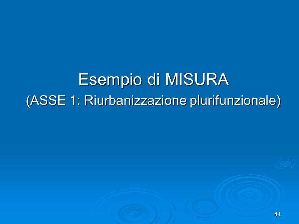 Esempio di MISURA (ASSE 1: Riurbanizzazione plurifunzionale)