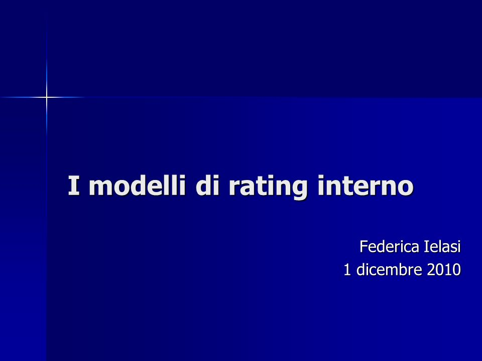 I modelli di rating interno