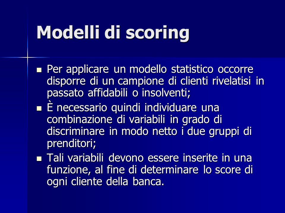 Modelli di scoring Per applicare un modello statistico occorre disporre di un campione di clienti rivelatisi in passato affidabili o insolventi;