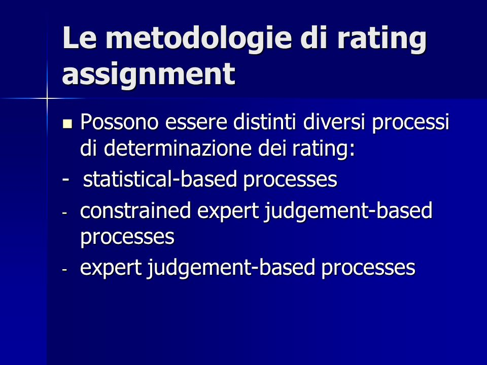 Le metodologie di rating assignment