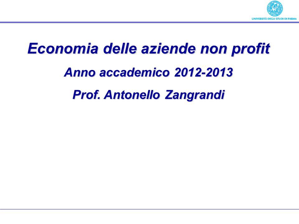 Economia delle aziende non profit Prof. Antonello Zangrandi