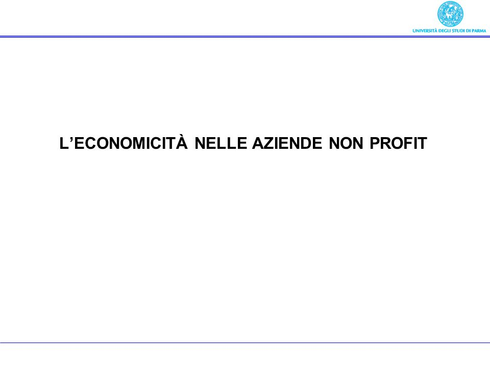 L'ECONOMICITÀ NELLE AZIENDE NON PROFIT
