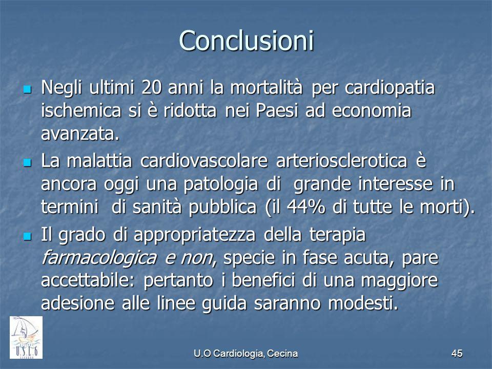 Conclusioni Negli ultimi 20 anni la mortalità per cardiopatia ischemica si è ridotta nei Paesi ad economia avanzata.