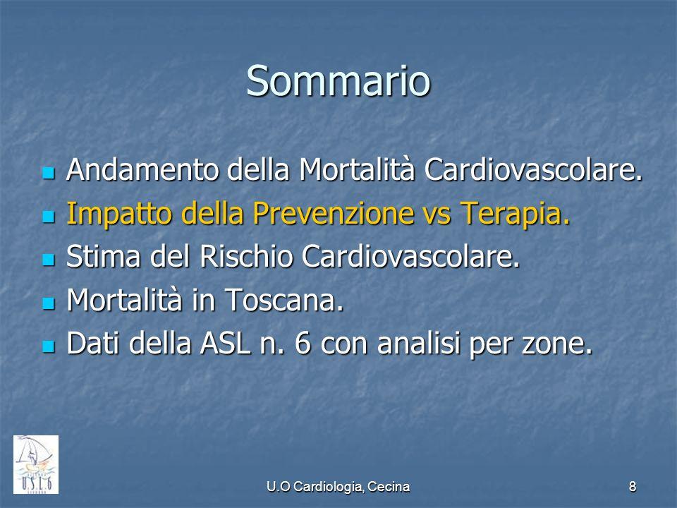 Sommario Andamento della Mortalità Cardiovascolare.