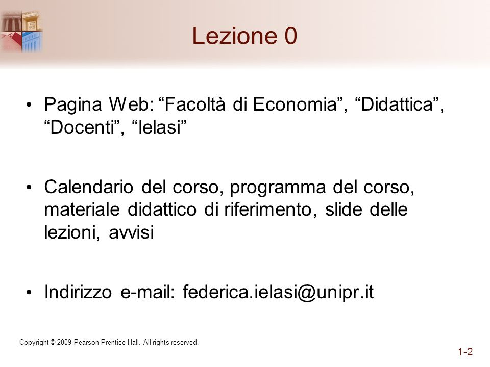 Lezione 0 Pagina Web: Facoltà di Economia , Didattica , Docenti , Ielasi
