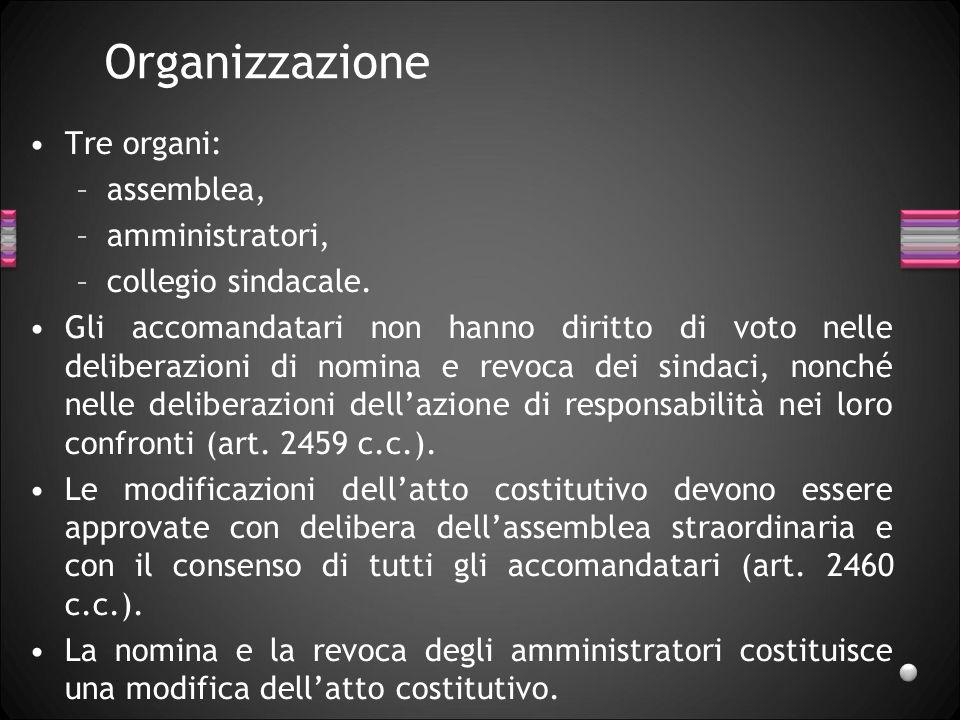 Organizzazione Tre organi: assemblea, amministratori,