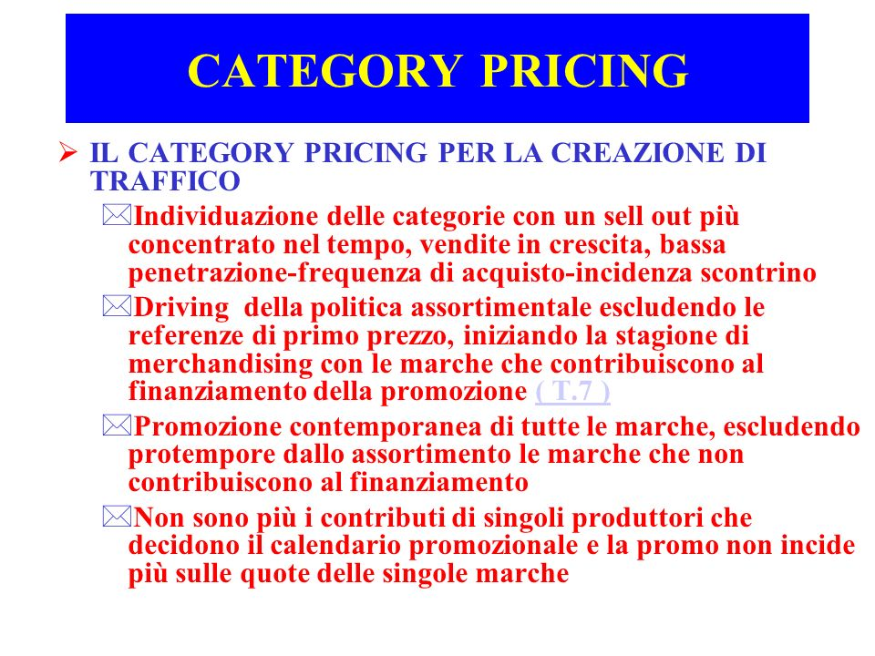 CATEGORY PRICING IL CATEGORY PRICING PER LA CREAZIONE DI TRAFFICO