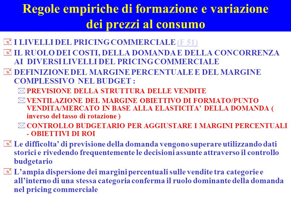 Regole empiriche di formazione e variazione dei prezzi al consumo