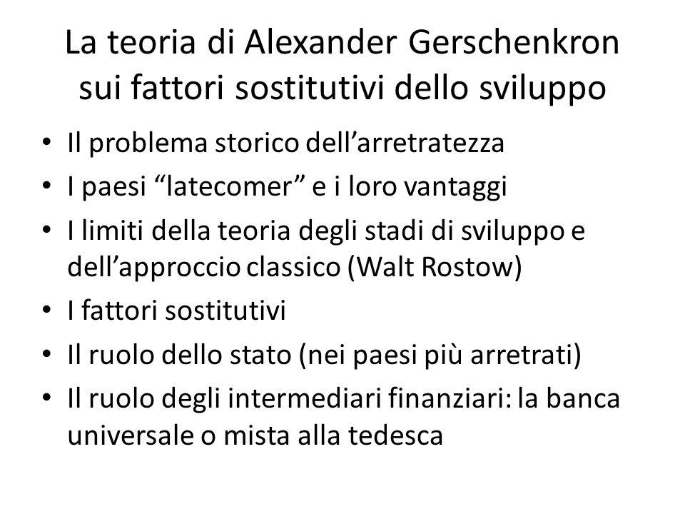 La teoria di Alexander Gerschenkron sui fattori sostitutivi dello sviluppo