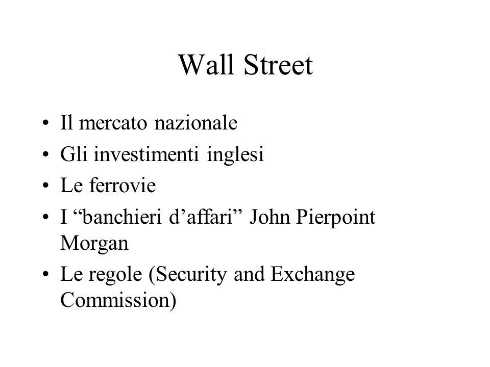 Wall Street Il mercato nazionale Gli investimenti inglesi Le ferrovie