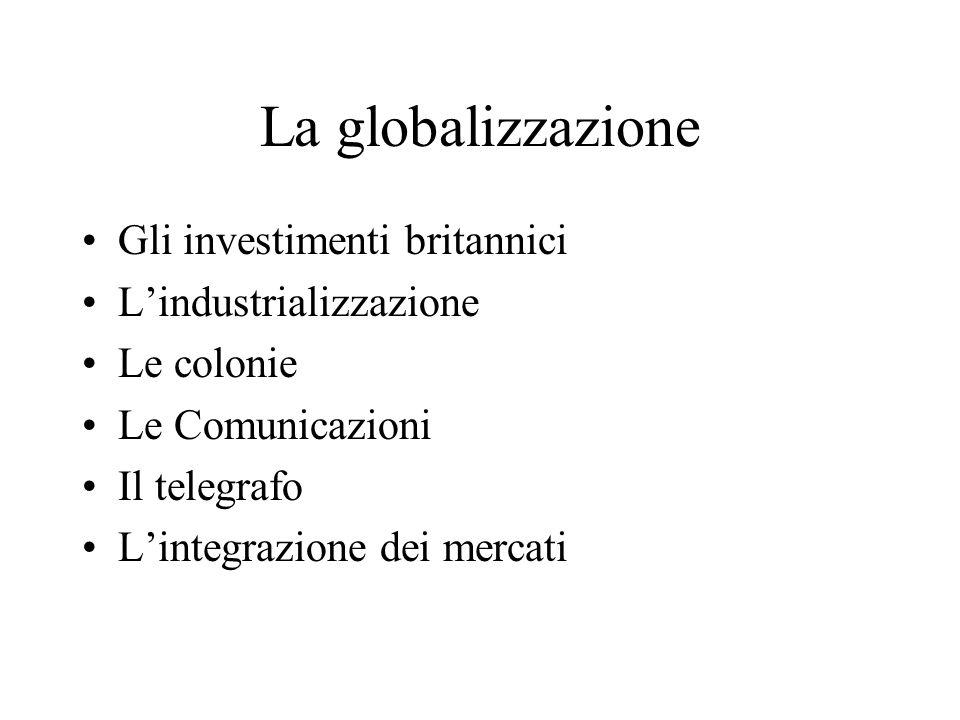 La globalizzazione Gli investimenti britannici L'industrializzazione