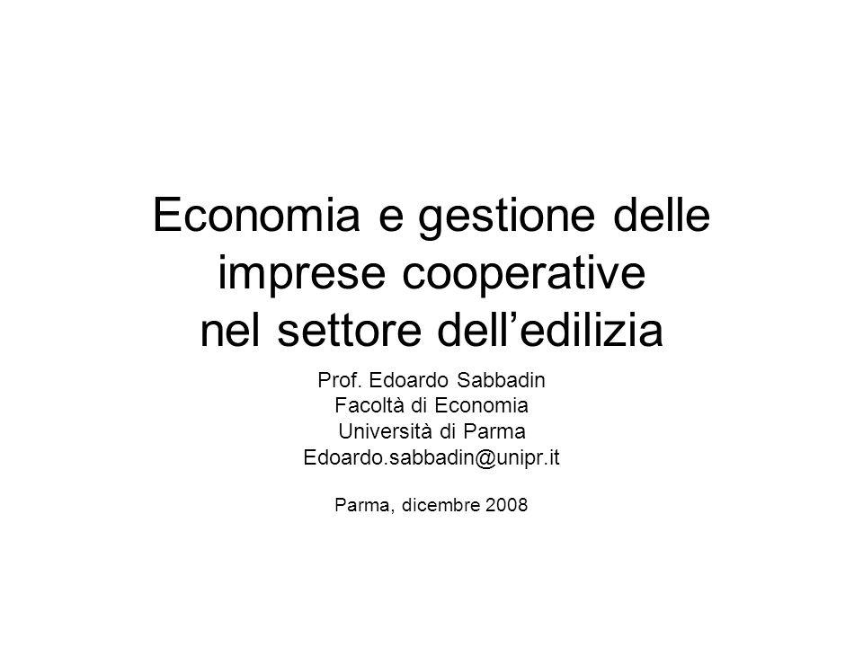 Economia e gestione delle imprese cooperative nel settore dell'edilizia