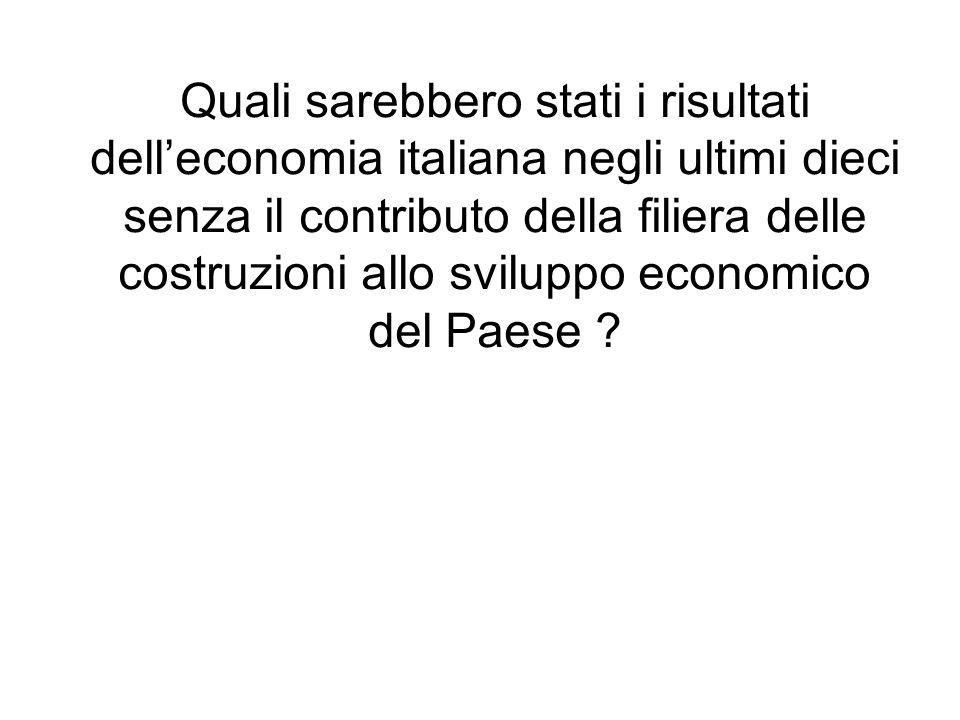 Quali sarebbero stati i risultati dell'economia italiana negli ultimi dieci senza il contributo della filiera delle costruzioni allo sviluppo economico del Paese