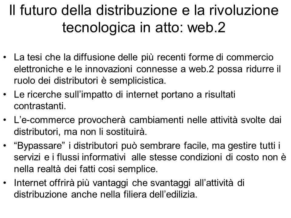 Il futuro della distribuzione e la rivoluzione tecnologica in atto: web.2