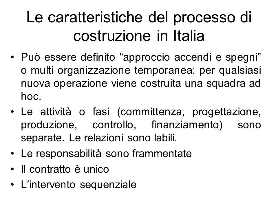 Le caratteristiche del processo di costruzione in Italia