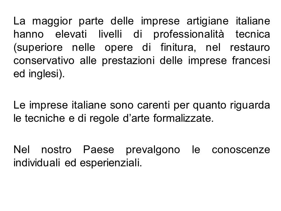 La maggior parte delle imprese artigiane italiane hanno elevati livelli di professionalità tecnica (superiore nelle opere di finitura, nel restauro conservativo alle prestazioni delle imprese francesi ed inglesi).