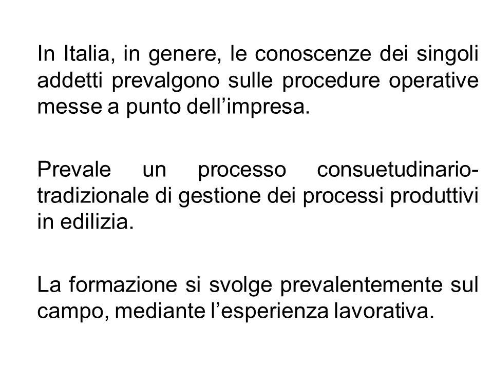 In Italia, in genere, le conoscenze dei singoli addetti prevalgono sulle procedure operative messe a punto dell'impresa.