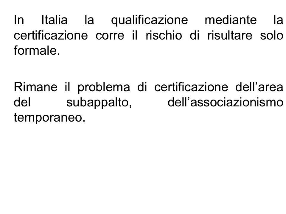 In Italia la qualificazione mediante la certificazione corre il rischio di risultare solo formale.
