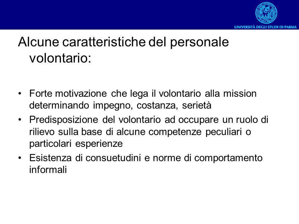Alcune caratteristiche del personale volontario: