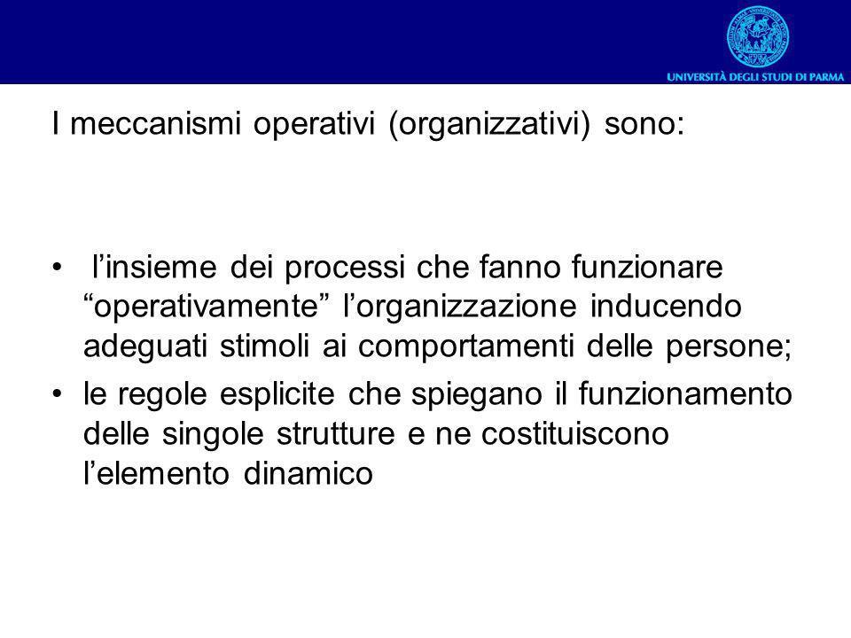I meccanismi operativi (organizzativi) sono: