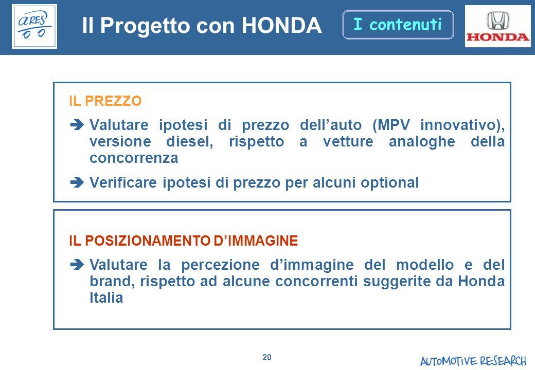 Il Progetto con HONDA I contenuti
