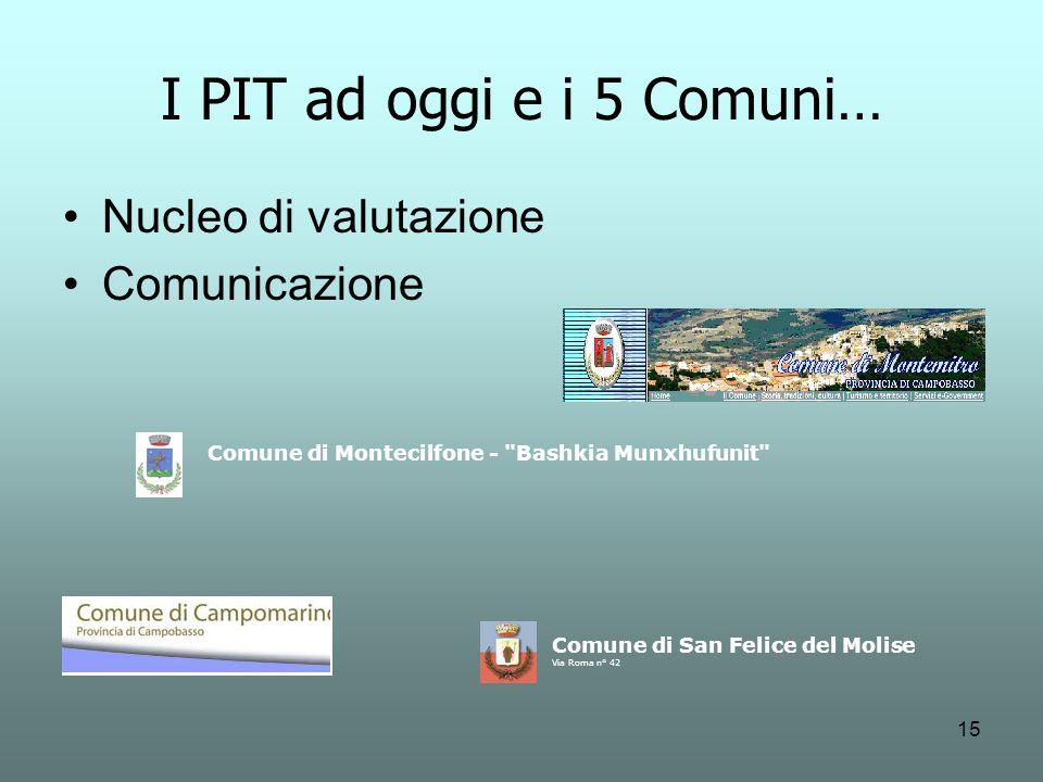 I PIT ad oggi e i 5 Comuni… Nucleo di valutazione Comunicazione