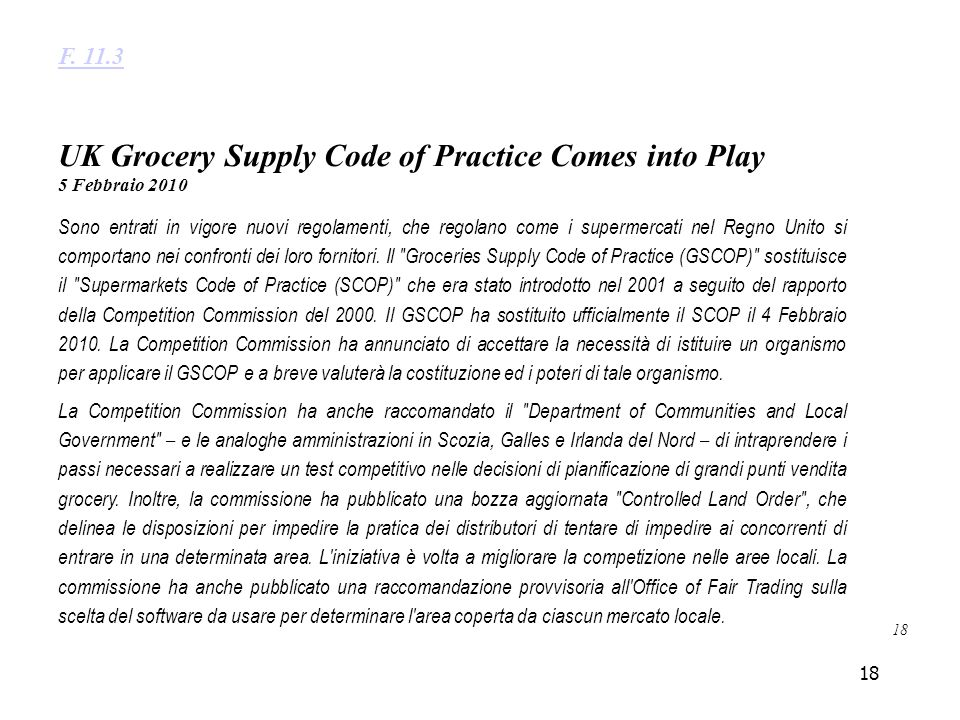 UK Grocery Supply Code of Practice Comes into Play