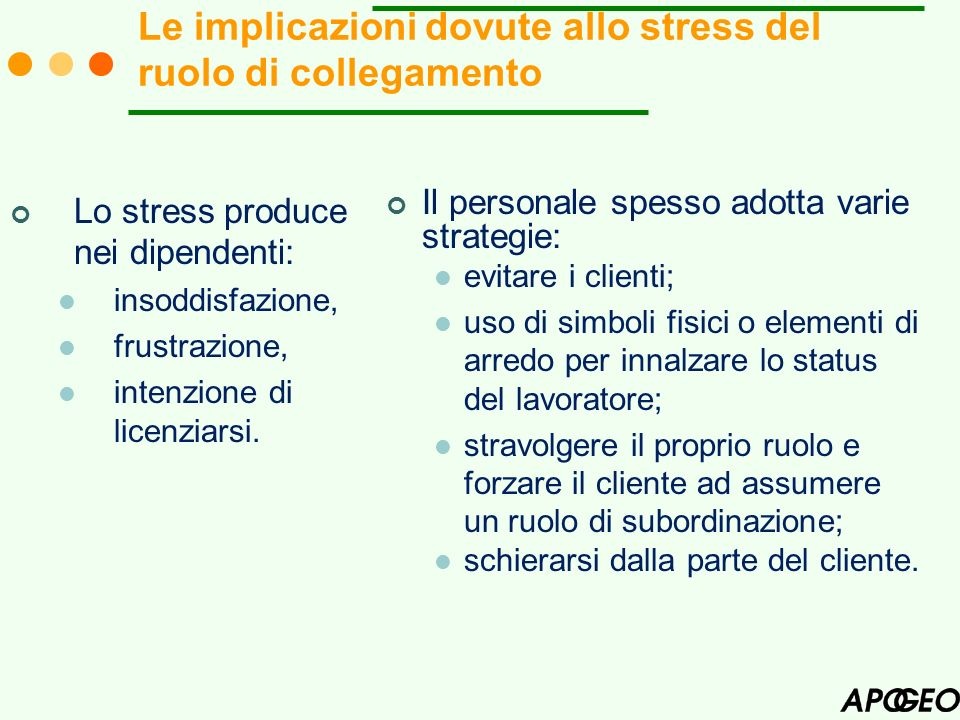 Le implicazioni dovute allo stress del ruolo di collegamento